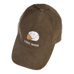 Corduroy baseball hat with embroidery details and an adjustable back ponytail hole. 100% cotton. One size.