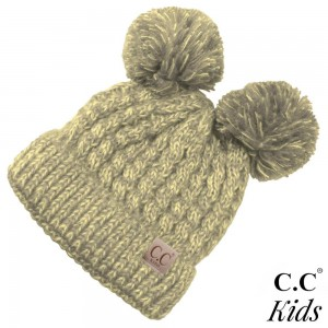 "C.C Kids exclusive beanie with two pom poms. 100% acrylic. Measures 7"" in diameter and 8"" in length. Approximate fit: 4 to 7 years of age."