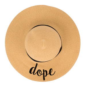 "C.C Brand, wide-brim floppy beach hat. 100% paper. Brim measures 4"" in width and hat is 15.5"" in total diameter. This hat is crushable/packable and able to hold it's shape."