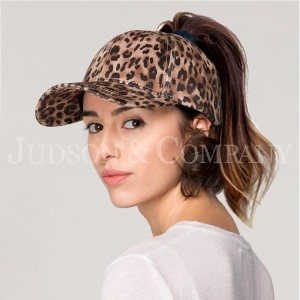 Leopard print C.C Brand cap with standard ponytail hole. 100% polyester.