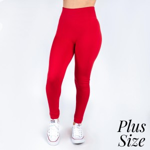New Kathy / New Mix plus size red, summer-weight leggings are seamless, chic, and a must-have for every wardrobe. These lightweight, full-length leggings are versatile, perfect for layering, and available in many shades. Smooth fabric, 92% Nylon 8% Spandex. One size, fits US women's 16-20.