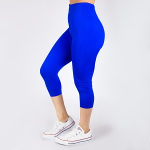 Royal blue capri leggings. Summer weight.  Made of a 92% nylon and 8% spandex mix. One size fits most.