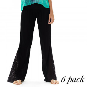 Electric Fiesta Pants - Pack of 6 (1-S,2-M,2-L,1-XL) - Gauze pants with crochet bell bottom flare and foldover waistband. 100% Rayon.