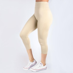 Cream capri leggings. Summer weight.  Made of a 92% nylon and 8% spandex mix. One size fits most.