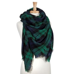 "Green and navy tartan plaid blanket scarf. 100% Acrylic. Approximately 30"" x 55""."