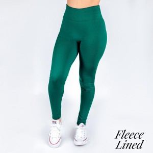 New Kathy / New Mix teal green, fleece lined leggings are seamless, chic, and a must-have for every wardrobe. These cozy, full-length leggings are versatile, perfect for layering, and available in many shades. Smooth fabric, 92% Nylon 8% Spandex. One size fits most, fits US women's 0-14.