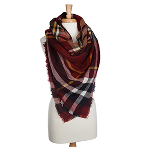 """Red, white, navy, and yellow tartan plaid blanket scarf. Approximately 58"""" x 58"""". 100% Acrylic."""