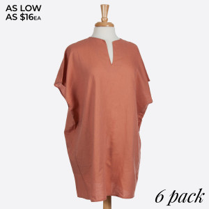 Clay linen pocket dress. 100% Cotton. Sold in packs of 6. Four S/M and two M/L.