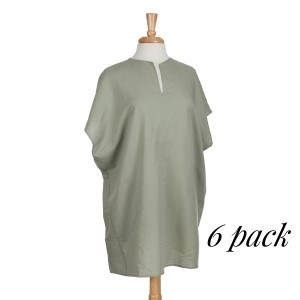 Sage linen pocket dress. 100% Cotton. Sold in packs of 6. Four S/M and two M/L.