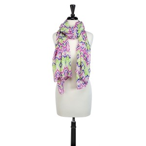 Purple and lime green ikat pattern oblong scarf that can also be worn as a coverup.