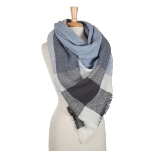 Light blue, navy and white plaid blanket scarf. 100% acrylic.