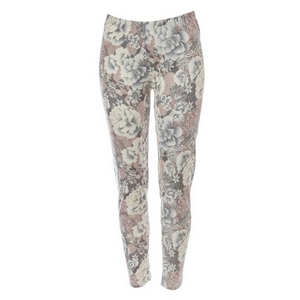 Gray and pink floral pattern leggings made of a polyester and spandex blend. One size fits most.