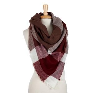 Burgundy, wine and white plaid blanket scarf. 100% acrylic.