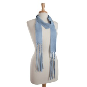 "Light blue faux suede skinny scarf with braided fringe detail. Approximately 88"" in length."