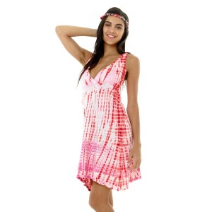 Pink and red halter top tie-dye dress. Sold in packs of six - one small, two mediums, two larges, one extra large.