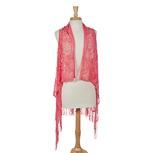 Coral crochet vest with a floral pattern and fringe detail. 100% polyester. One size fits most.