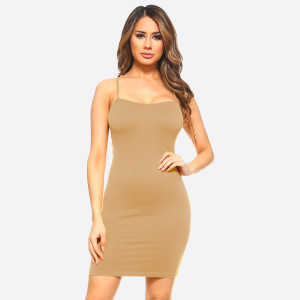 Tan spaghetti strap camisole dress length tank top for layering. 92% nylon and 8% spandex. One size fits most, fits US women's 2-14.