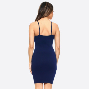 Navy blue spaghetti strap camisole dress length tank top for layering. 92% nylon and 8% spandex. One size fits most, fits US women's 2-14.