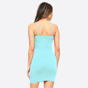 Light blue spaghetti strap camisole dress length tank top for layering. 92% nylon and 8% spandex. One size fits most, fits US women's 2-14.