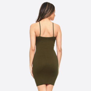 Olive green spaghetti strap camisole dress length tank top for layering. 92% nylon and 8% spandex. One size fits most, fits US women's 2-14.