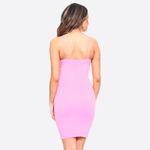Bright pink spaghetti strap long camisole. Can also be worn as a dress. 92% nylon and 8% spandex. One size fits most, fits US women's 2-14.