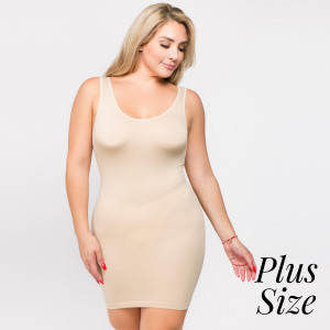 Ivory wide strap camisole dress length tank top for layering. 92% nylon and 8% spandex.  One size fits most plus, fits US women's 16-20.