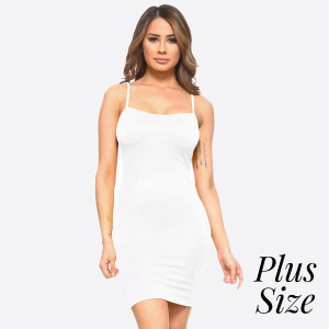 Plus size spaghetti strap camisole dress length tank top for layering. 92% nylon and 8% spandex. One size fits most - plus size.