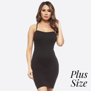 Charcoal spaghetti strap camisole dress length tank top for layering. 92% nylon and 8% spandex. One size fits most - plus size.