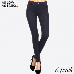 Navy blue denim jeggings with real front and pack pockets.  90% polyester and 10% spandex. Sold in packs of six - two S/M and four M/L.