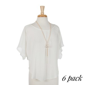 Ivory scoop neck short sleeve top with removable gold tone tassel necklace. 100% rayon. Sold in packs of six - one small, two mediums, two larges, one extra large.
