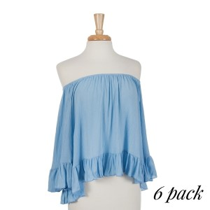 Light blue off the shoulder top with ruffles on the sleeve and bottom hem with an elastic neckline. 100% rayon. Sold in packs of six - one small, two mediums, two larges, one extra large.