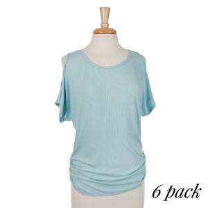 Ribbed light blue cold shoulder dolman top with ruching along the sides. 95% rayon and 5% spandex. Sold in packs of six - one small, two mediums, two larges, one extra large.