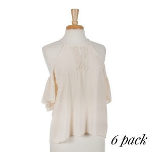 Ivory cold shoulder top with a lace v-neck detail. 95% polyester and 5% spandex. Sold in packs of six - one small, two mediums, two larges, one extra large.