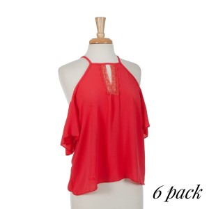 Coral cold shoulder top with a lace v-neck detail. 95% polyester and 5% spandex. Sold in packs of six - one small, two mediums, two larges, one extra large.