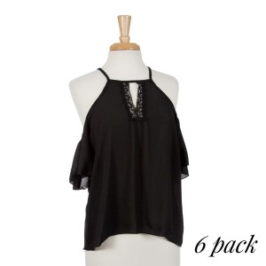 Black cold shoulder top with a lace v-neck detail. 95% polyester and 5% spandex. Sold in packs of six - one small, two mediums, two larges, one extra large.