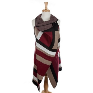 Burgundy, black and taupe vest with a button closure. 100% acrylic. One size fits most.