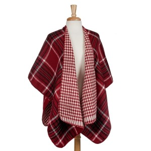 Red, black and white reversible kimono with houndstooth and plaid. 100% acrylic. One size fits most.