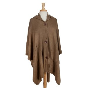 Taupe hooded poncho with a button front. 100% acrylic. One size fits most.