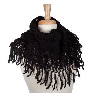 Black knit tube scarf with fringe. 100% acrylic