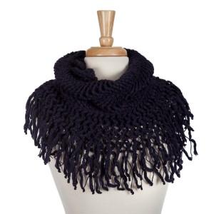 Navy blue knit tube scarf with fringe. 100% acrylic.