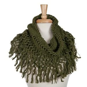 Olive green knit tube scarf with fringe. 100% acrylic.