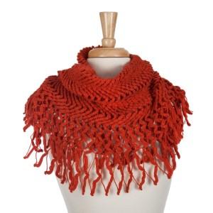 Rust orange knit tube scarf with fringe. 100% acrylic.