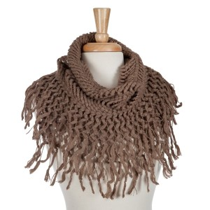 Taupe knit tube scarf with fringe. 100% acrylic