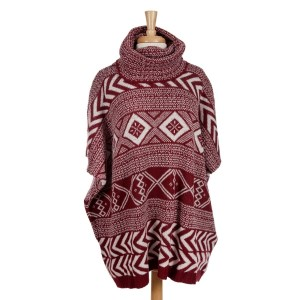 Heavyweight burgundy and white Aztec printed, turtleneck poncho top with short sleeves. 100% acrylic. One size fits most.