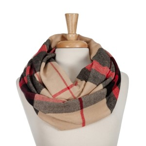 Tan, black, and red plaid infinity scarf. 100% acrylic.