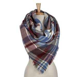 Burgundy, gray and blue plaid blanket scarf. 100% acrylic.