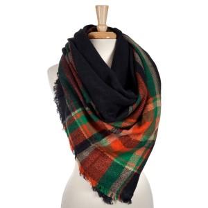 Navy, green and orange plaid blanket scarf. 100% acrylic.