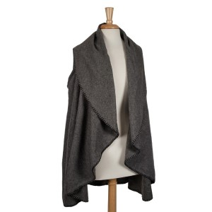 Gray shawl vest with black trim. 100% acrylic. One size fits most. Perfect for monogramming!