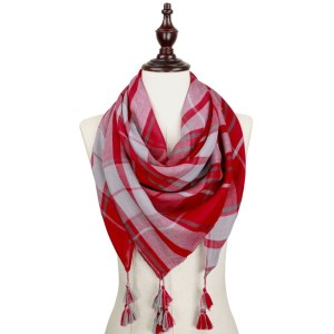 Red and gray lightweight plaid scarf with tassels. 100% polyester.