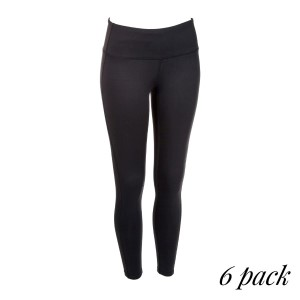 Black full length active leggings. 88% polyester and 12% spandex. Sold in packs of six - two smalls, two mediums, two larges.